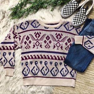 Vintage Boho Tribal Travel Sweater SZ S